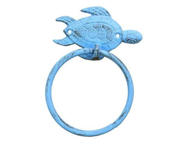 Rustic Light Blue Cast Iron Sea Turtle Towel Holder 7