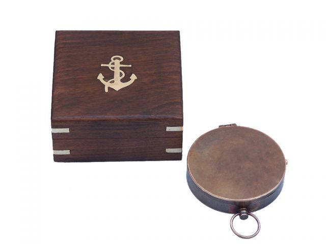 Antique Copper Gentlemens Compass With Rosewood Box 4