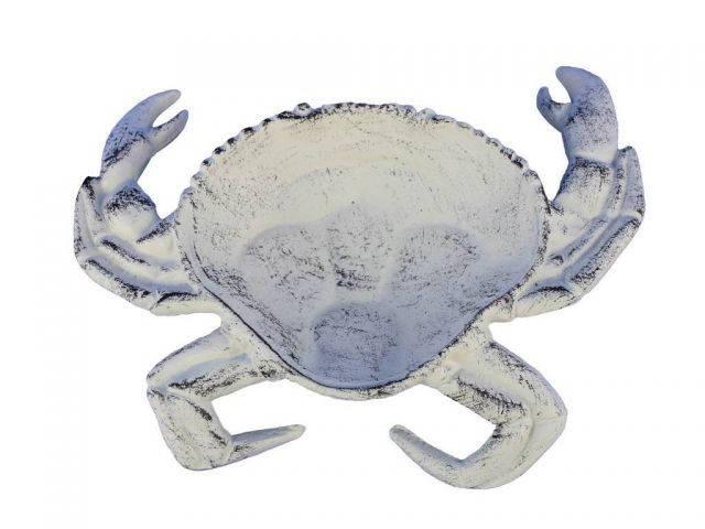 Whitewashed Cast Iron Crab Decorative Bowl 7