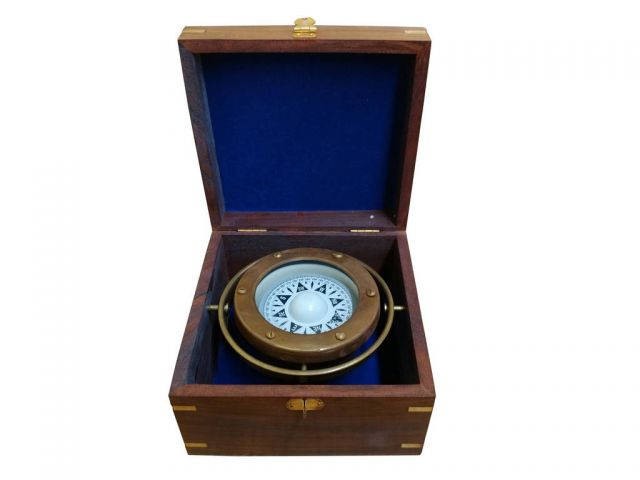 Antique Brass Gimbal Compass w- Rosewood Box 5