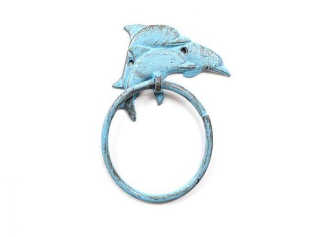 Rustic Light Blue Cast Iron Dolphins Towel Holder 7
