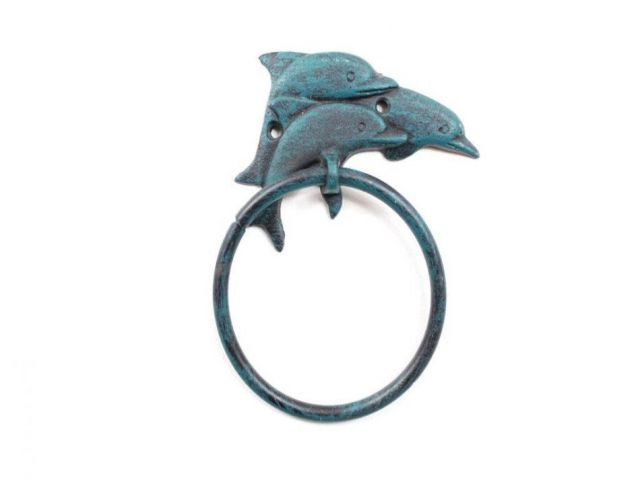 Seaworn Blue Cast Iron Dolphins Towel Holder 7