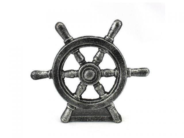 Antique Silver Cast Iron Ship Wheel Door Stopper 9