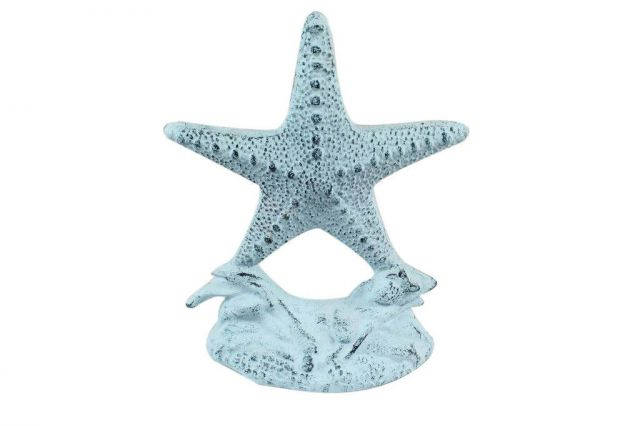 Dark Blue Whitewashed Cast Iron Starfish Door Stopper 11
