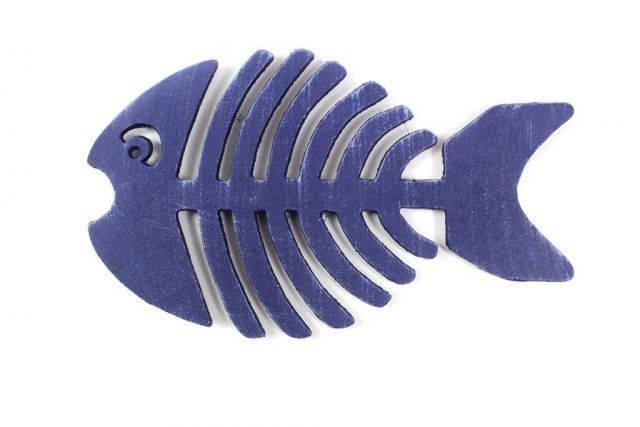 Rustic Dark Blue Cast Iron Fish Bone Trivet 11