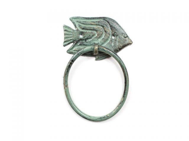 Antique Seaworn Bronze Cast Iron Angel Fish Towel Holder 6.5