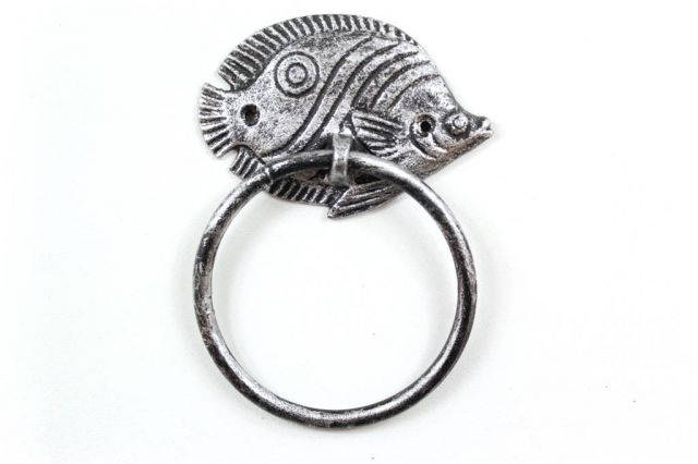 Rustic Silver Cast Iron Butterfly Fish Towel Holder 7