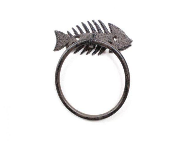 Cast Iron Decorative Fish Bone Towel Holder 5.5