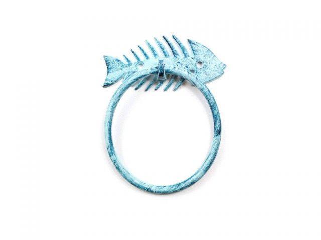 Rustic Dark Blue Whitewashed Cast Iron Fish Bone Towel Holder 5.5