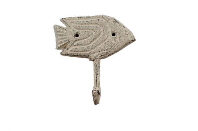 Whitewashed Cast Iron Angel Fish Wall Hook 5