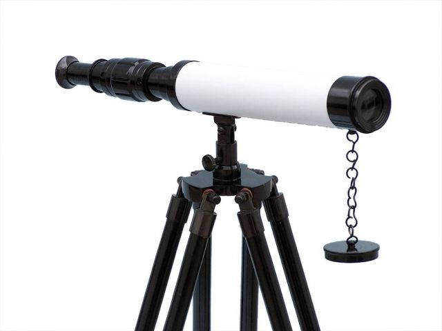 Standing Oil-Rubbed Bronze with White Leather Harbor Master Telescope 30