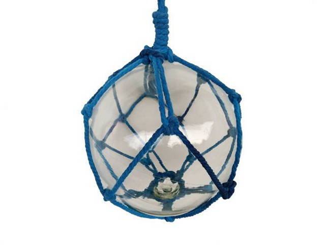 Clear Japanese Glass Ball Fishing Float with Dark Blue Netting Decoration 10