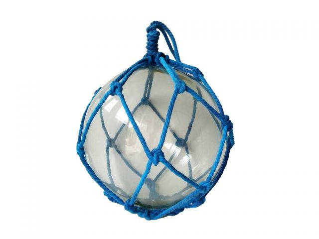 Clear Japanese Glass Ball Fishing Float with Dark Blue Netting Decoration 12