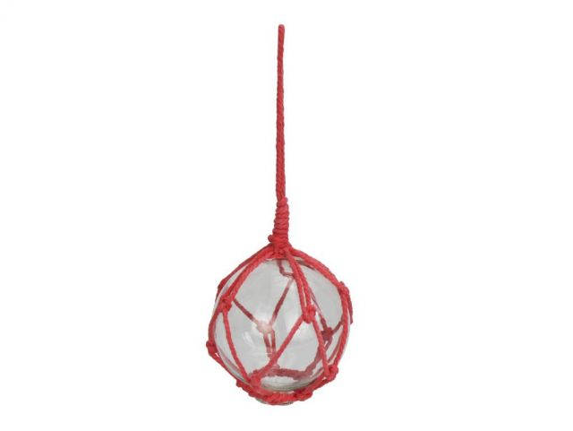 Clear Japanese Glass Ball Fishing Float with Red Netting Decoration 3