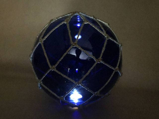 Tabletop LED Lighted Dark Blue Japanese Glass Ball Fishing Float with Brown Netting Decoration 10