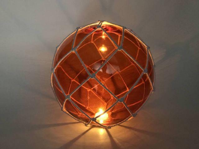 Tabletop LED Lighted Orange Japanese Glass Ball Fishing Float with White Netting Decoration 10