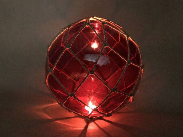 Tabletop LED Lighted Red Japanese Glass Ball Fishing Float with Brown Netting Decoration 10