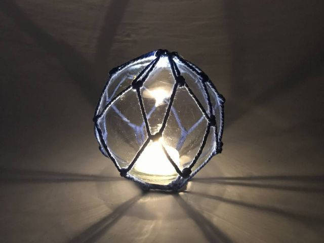Tabletop LED Lighted Clear Japanese Glass Ball Fishing Float with Blue Netting Decoration 4