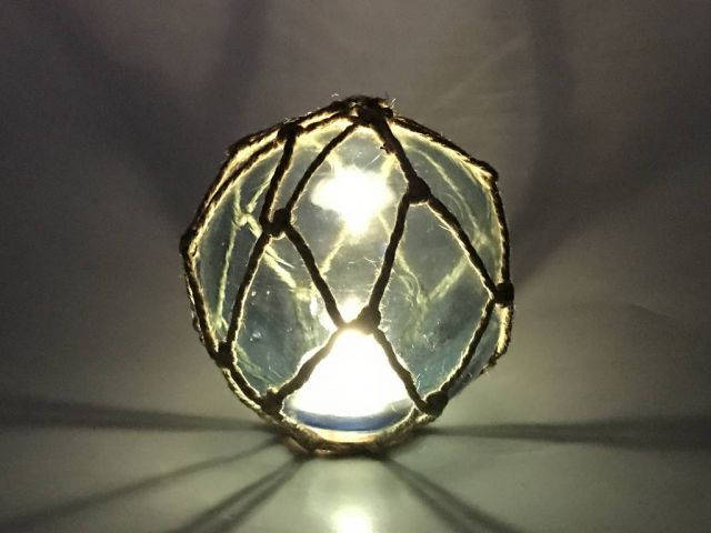Tabletop LED Lighted Light Blue Japanese Glass Ball Fishing Float with Brown Netting Decoration 6