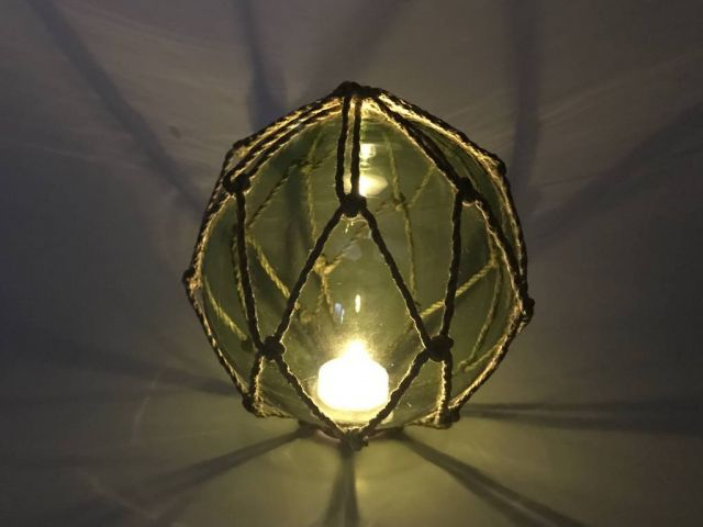 Tabletop LED Lighted Green  Japanese Glass Ball Fishing Float with Brown Netting Decoration 6
