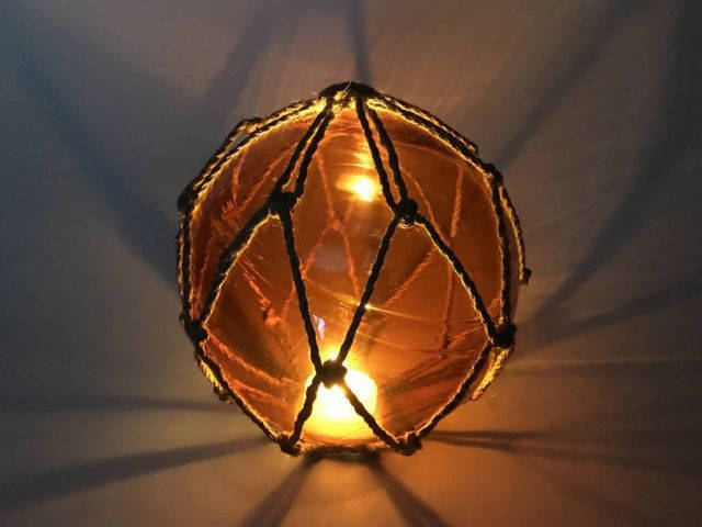 Tabletop LED Lighted Orange Japanese Glass Ball Fishing Float with Brown Netting Decoration 6