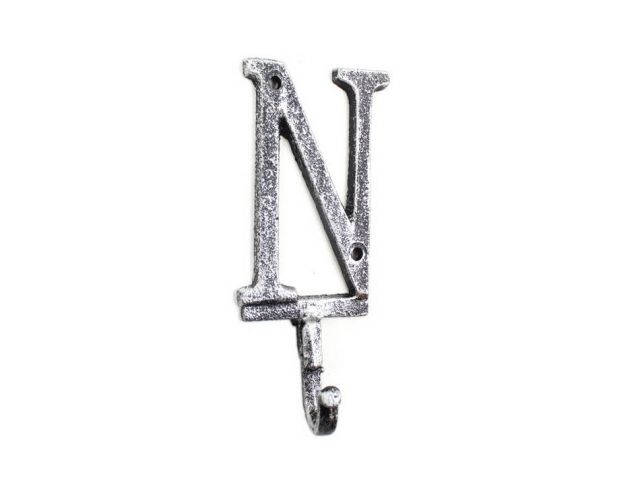 Rustic Silver Cast Iron Letter N Alphabet Wall Hook 6