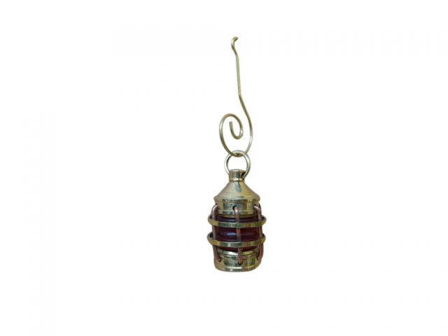 Solid Brass Anchor Red Lantern Christmas Ornament 4