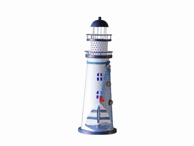 LED Lighted Decorative Metal Lighthouse with Sailboat 12