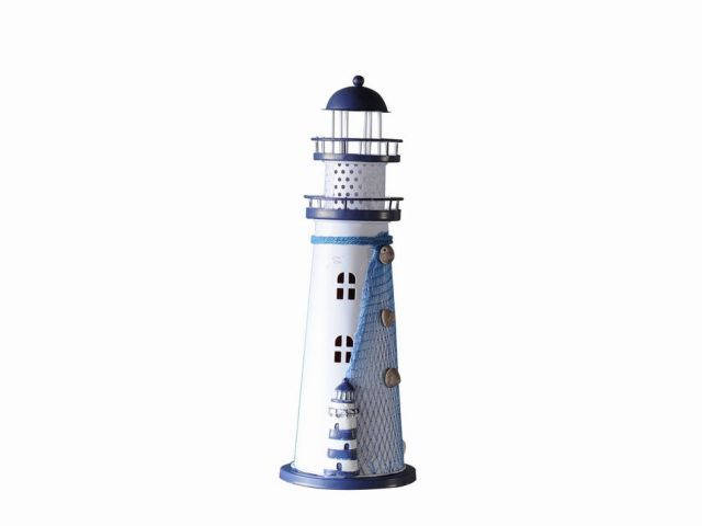 LED Lighted Decorative Metal Lighthouse with Small Lighthouse 12