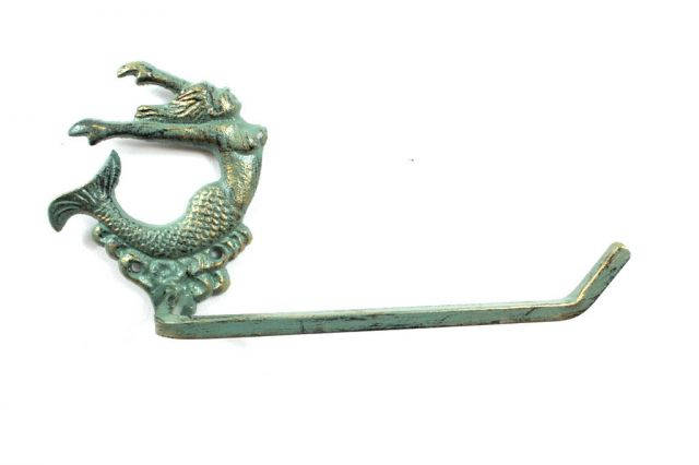 Antique Seaworn Bronze Cast Iron Decorative Arching Mermaid Toilet Paper Holder 11