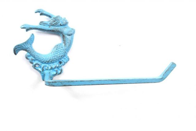 Rustic Light Blue Cast Iron Decorative Arching Mermaid Toilet Paper Holder 11