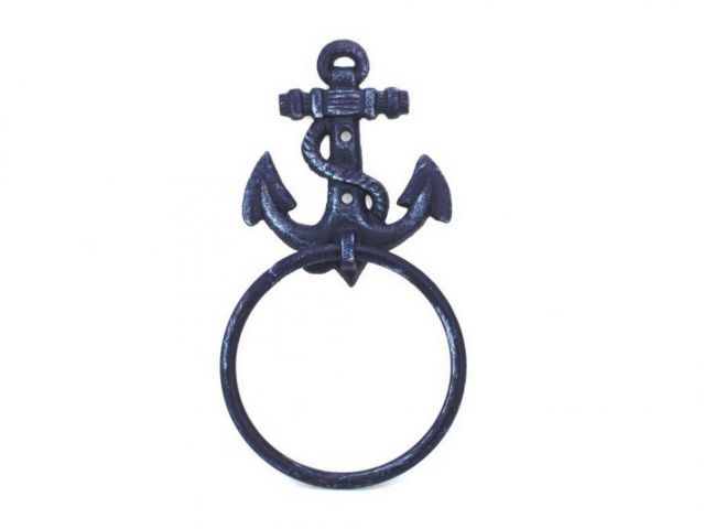 Rustic Dark Blue Cast Iron Anchor Towel Holder 8.5