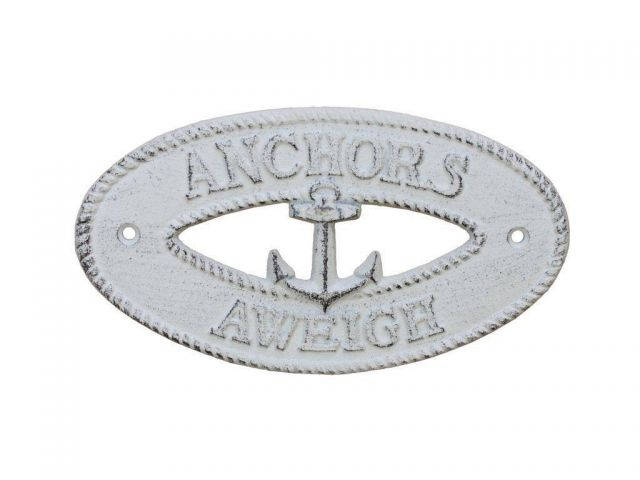 Whitewashed Cast Iron Anchors Aweigh with Anchor Sign 8