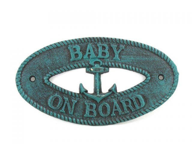 Seaworn Blue Cast Iron Baby on Board with Anchor Sign 8