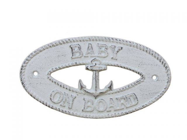 Whitewashed Cast Iron Baby on Board with Anchor Sign 8