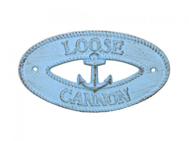 Rustic Light Blue Cast Iron Loose Cannon with Anchor Sign 8