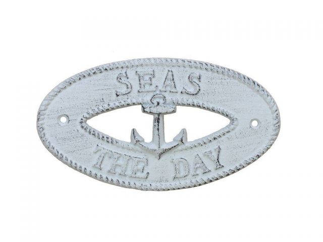 Whitewashed Cast Iron Seas the Day with Anchor Sign 8