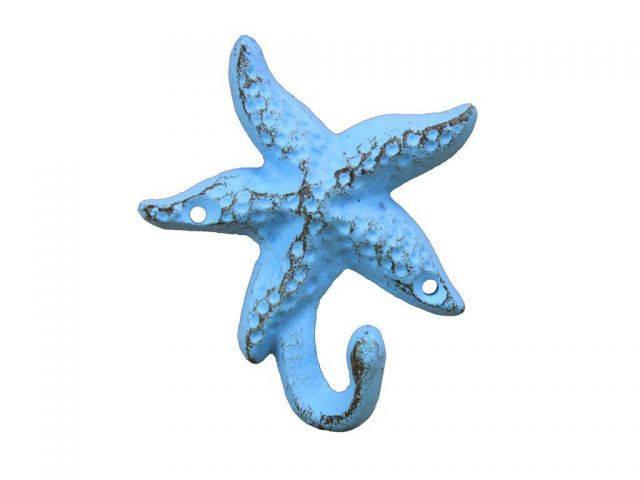 Rustic Light Blue Cast Iron Starfish Hook 6