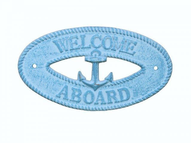 Light Blue Whitewashed Cast Iron Welcome Aboard with Anchor Sign 8