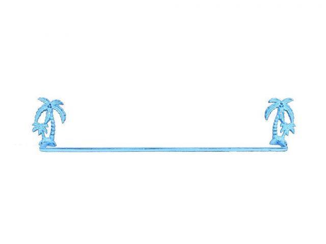 Dark Blue Whitewashed Cast Iron Palm Tree Bath Towel Holder 26