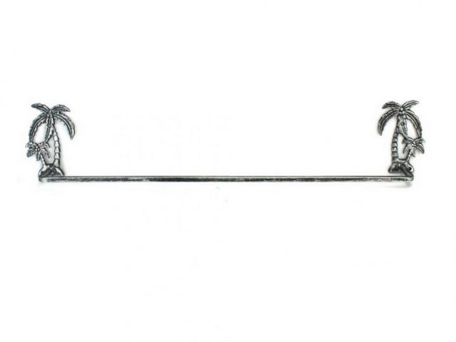 Antique Silver Cast Iron Palm Tree Bath Towel Holder 26