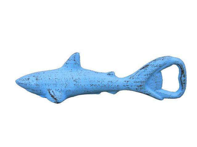 Rustic Light Blue Cast Iron Shark Bottle Opener 6