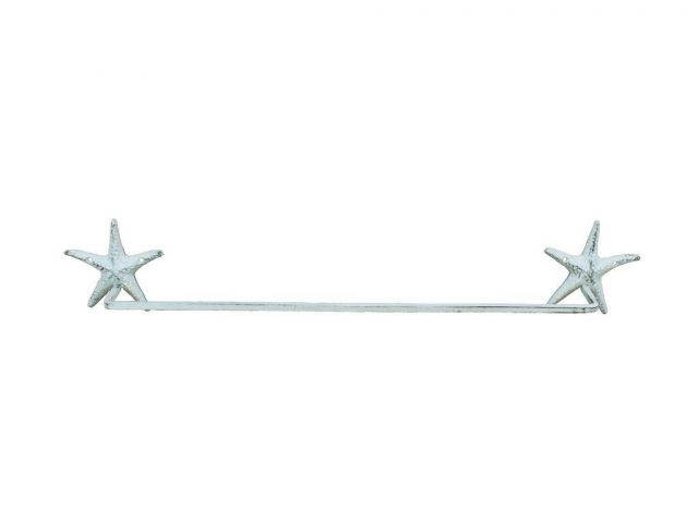 Whitewashed Cast Iron Starfish Bath Towel Holder 28