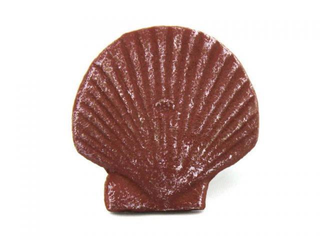Red Whitewashed Cast Iron Shell Napkin Ring 2 - set of 2
