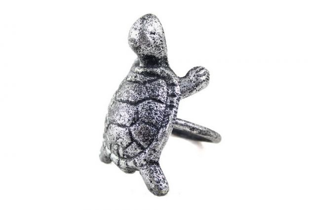 Antique Silver Cast Iron Turtle Napkin Ring 3 - Set of 2