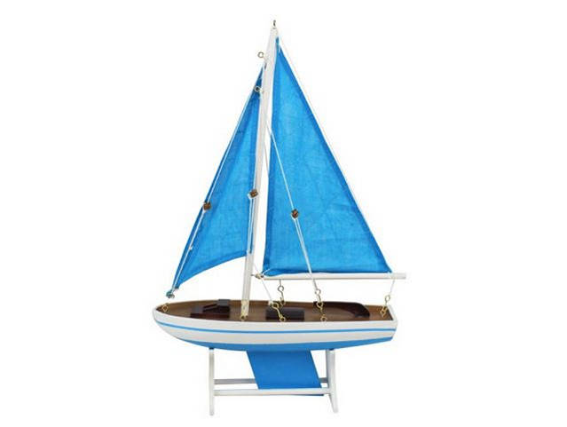 Wooden It Floats 12 - Light Blue wtih Light Blue Sails Floating Sailboat Model