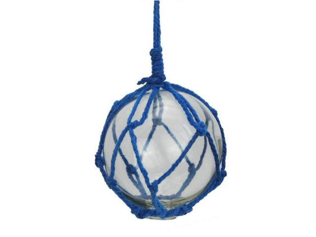 Clear Japanese Glass Ball Fishing Float with Dark Blue Netting Decoration 3