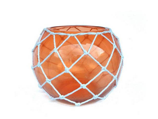 Orange Japanese Glass Fishing Float Bowl with Decorative White Fish Netting 10
