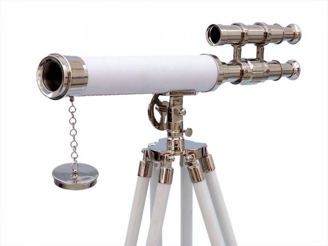 Floor Standing Chrome with White Leather Griffith Astro Telescope 50