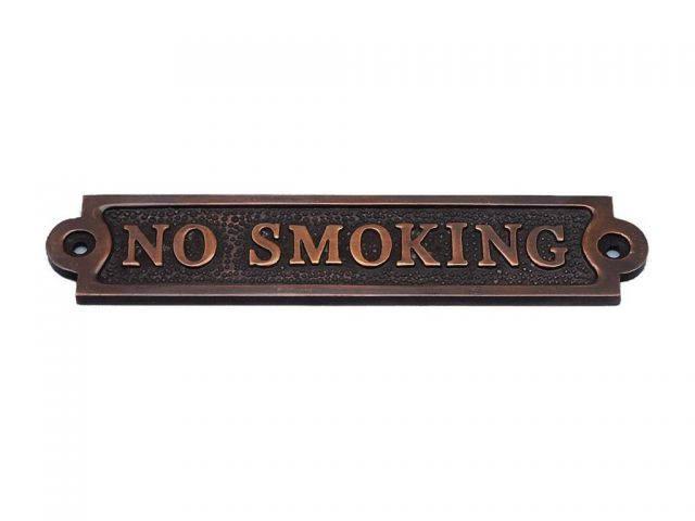 Antique Copper No Smoking Sign 6